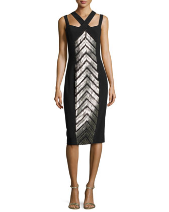 Crisscross Beaded-Front Sheath Dress, Black