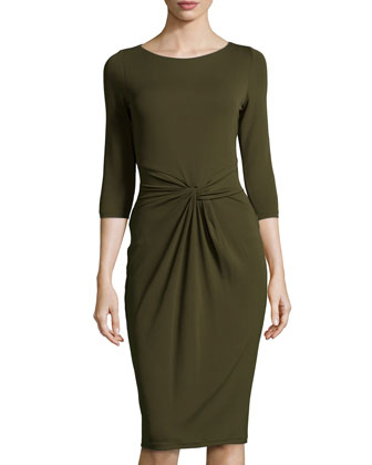 Twist-Front Sheath Dress, Olive
