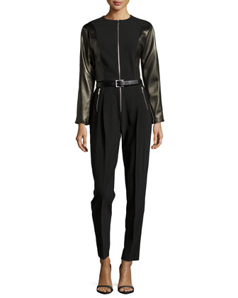 Long-Sleeve Belted Jumpsuit W/ Leather