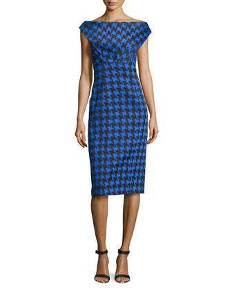 Houndstooth Jacquard Sheath Dress, Black/Royal