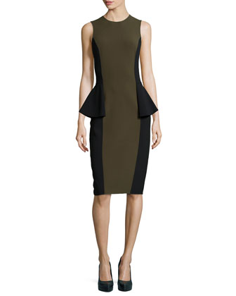 Two-Tone Peplum Dress, Olive