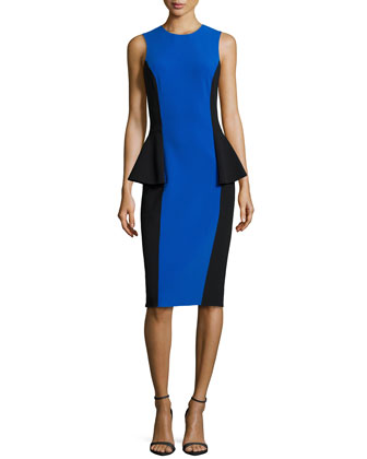 Two-Tone Peplum Dress, Royal/Black