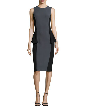 Two-Tone Peplum Dress, Graphite/Black