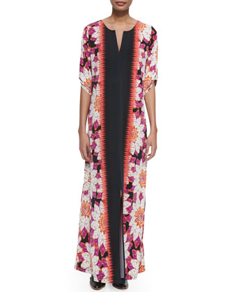 Floral-Border Long Dress