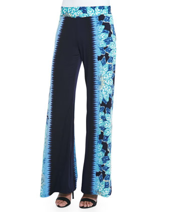 Floral-Print Colorfield Pants