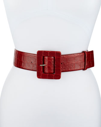 Signature Square-Buckle Leather Belt