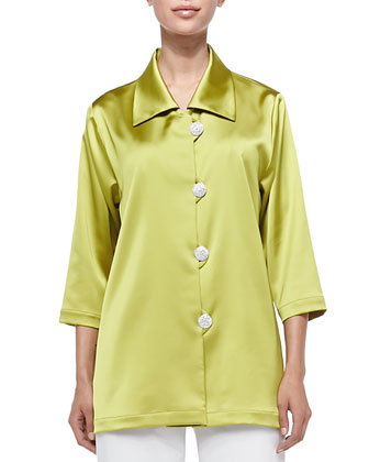 Radiant Satin Pave-Button Shirt, Citron, Petite