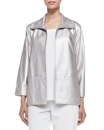 Modern Faux-Leather Jacket, Champagne, Women's