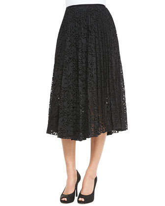 Zeyn Pleated Lace A-Line Skirt