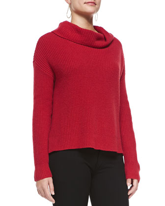 Super-Soft Funnel-Neck Ribbed Top, Petite