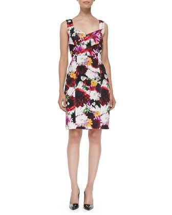 Sleeveless Floral-Print Sheath Dress W/ Cutout Back