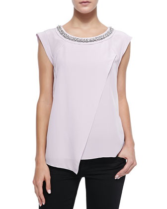 Jewel-Neck Silk Crossover Blouse