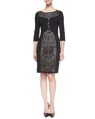 3/4-Sleeve Sheath Dress W/ Laser-Cut Front