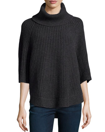 Chunky-Knit Turtleneck, Charcoal