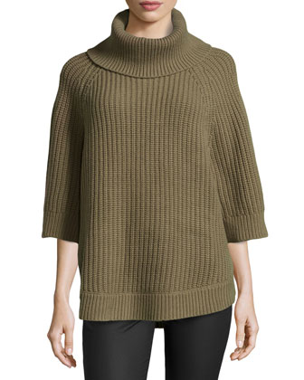 Cashmere-Wool Turtleneck Tunic, Military
