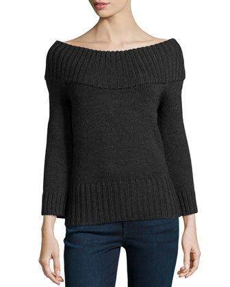 Off-the-Shoulder Ribbed Wool Sweater, Charcoal