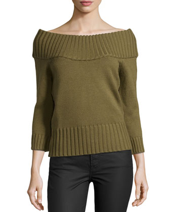 Off-the-Shoulder Ribbed Wool Sweater, Military