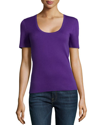Scoop-Neck Short-Sleeve Cashmere Top, Grape