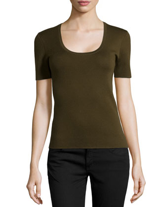 Scoop-Neck Short-Sleeve Cashmere Top, Olive