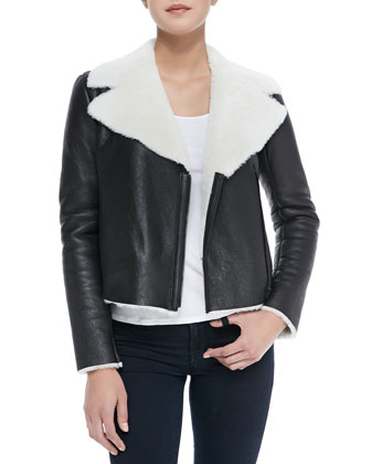 Front-Zip Shearling Moto Jacket