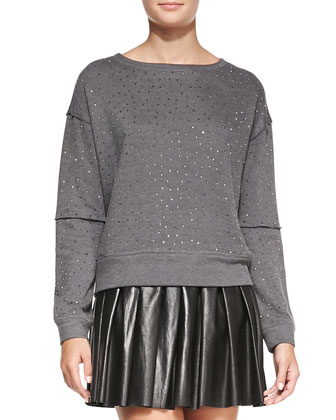 Scarlit Beaded Sweatshirt & Box-Pleated Leather Skirt