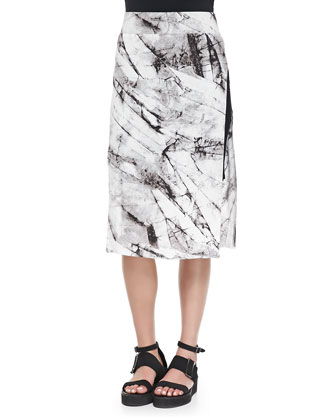 Terrene Slit Marble-Print Skirt