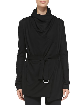 Sonar Wool Drape-Neck Trench & Reflex Full-Length Lightweight Leggings