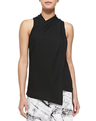 Ascend Sleeveless Twist-Neck Top, Black
