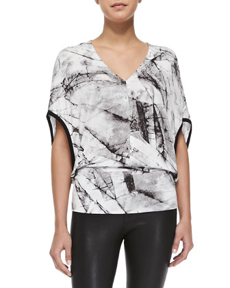 Terrene Marble-Print Jersey Top & Stretch-Leather Skinny Pants