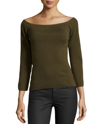 Off-the-Shoulder Knit Top, Olive