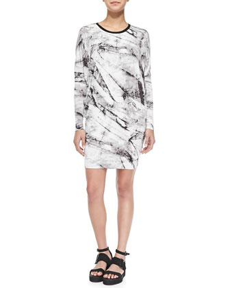 Terrene Long-Sleeve Marble-Print Dress