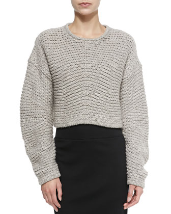 Cropped Soft Grid-Pattern Pullover, Dust