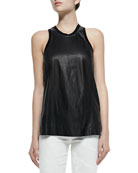 Tilt Knit/Leather Sleeveless Top
