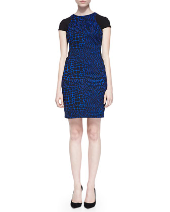 Odelia Colorblocked Reptile-Print Dress
