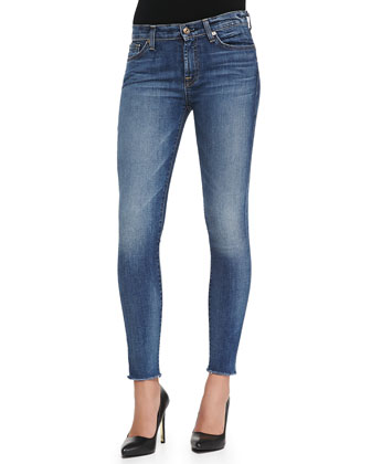 The Ankle Skinny Destroyed Raw-Hem Jeans