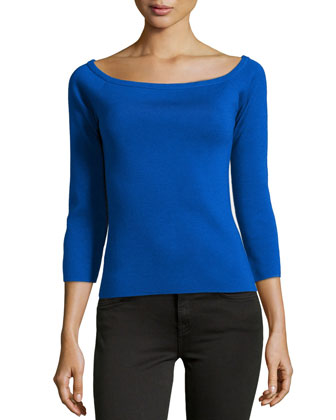 Off-the-Shoulder Knit Top, Royal
