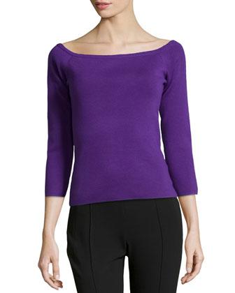 Off-the-Shoulder Knit Top, Grape