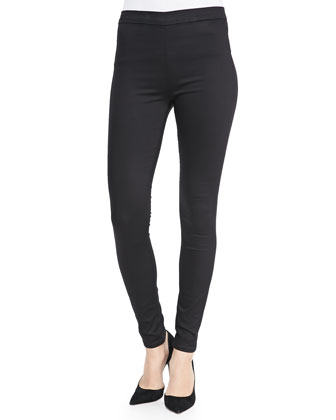 Evelyn High-Rise Back-Zip Jeans, Black