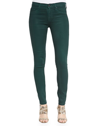 Nico Metallic Snake-Print Skinny Jeans, Green Envy