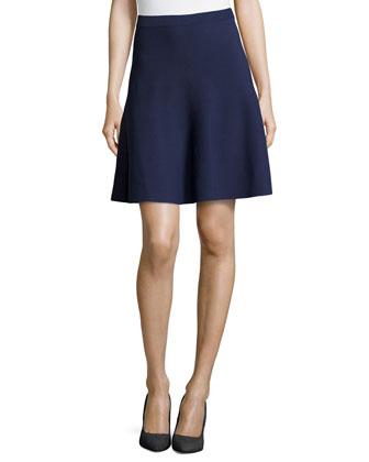 Flounce Jersey Skirt, Indigo