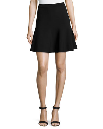 Flouncy Jersey Mini Skirt, Black