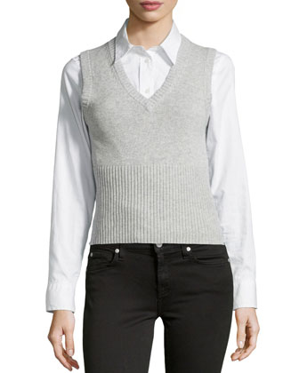 V-Neck Sweater Vest, Pearl Melange