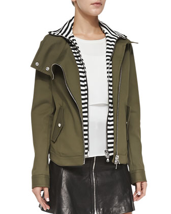 Army Jacket with Striped Dickey