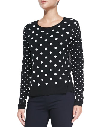 Polka-Dot Knit/Georgette Combo Top & Stretch Denim Leggings