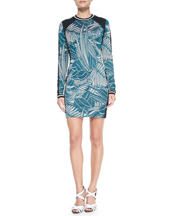 Printed Long-Sleeve Combo Sheath Dress