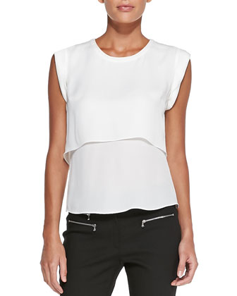Double-Georgette Muscle Tee, Ivory