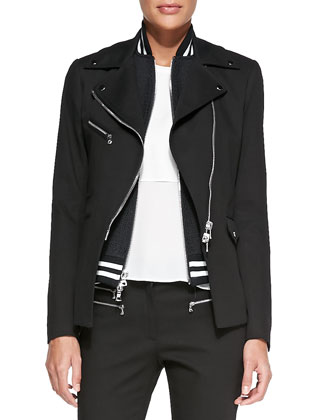 Moto Blazer with Varsity Dickey, Double-Georgette Muscle Tee & Zip-Detail ...