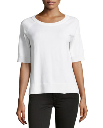 Short-Sleeve Cashmere-Blend Top, White
