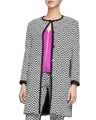 Jiles Printed Snap-Front Coat, Banning Front-Zip Ponte Top & Eme Printed ...