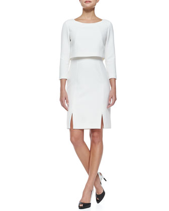 Florence 3/4-Sleeve Dress W/ Popover Top